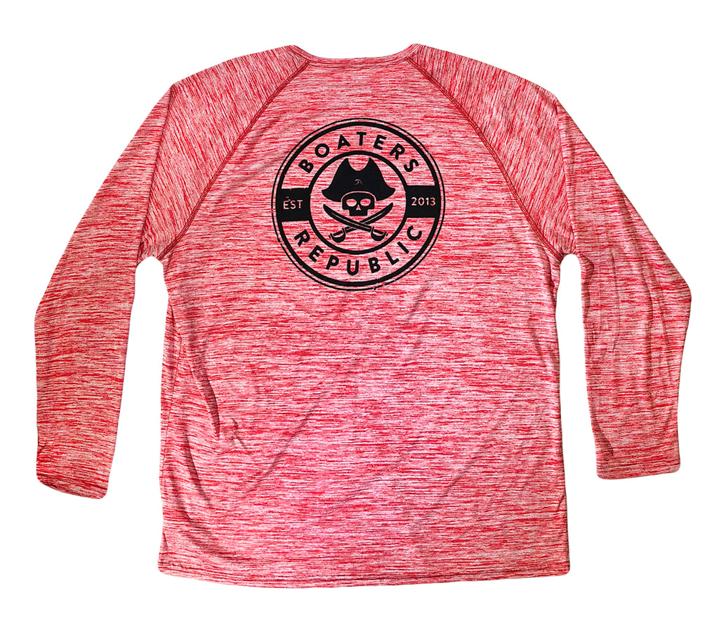 Boaters Republic Pirate Stamp L/S - Performance Heather Red - Boaters Republic
