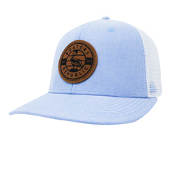 Leather Pelican Patch Trucker - Sky/ White