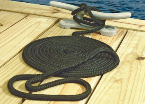 "Black Double Braided Dock Line 5/8"" X 25'"