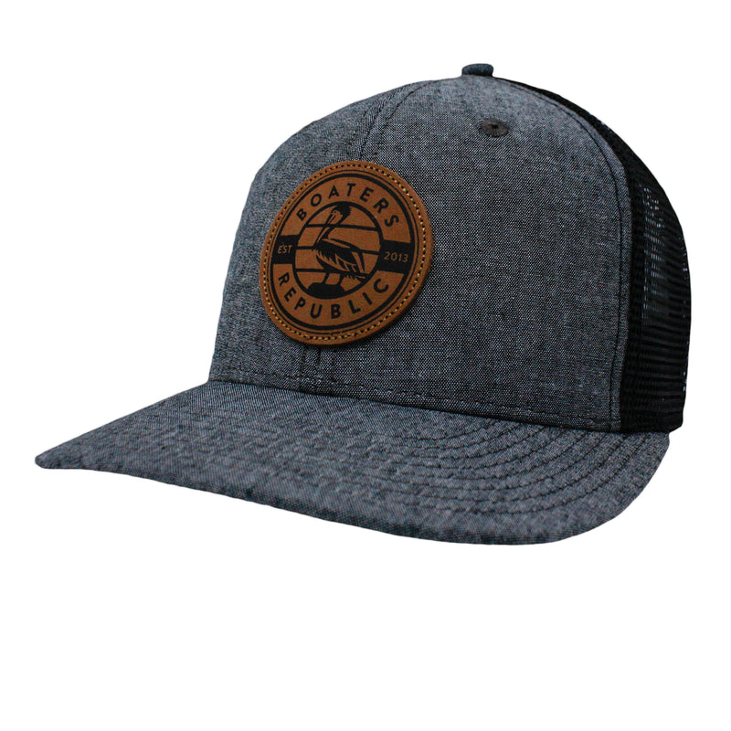Leather Pelican Patch Trucker - Charcoal/ Black