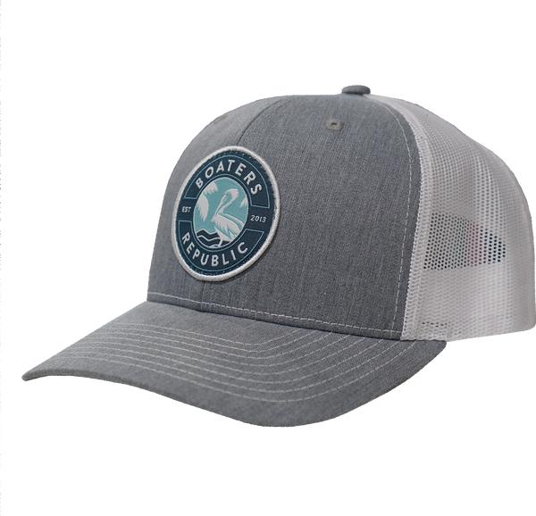 St. Pete Pelican Stamp Hat - Split Heather Grey/White OSFM