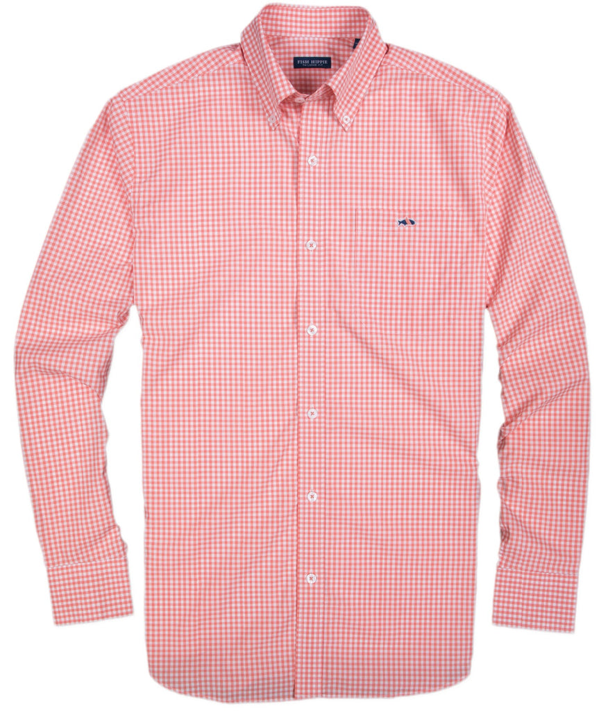 Fish Hippie Fish Hippie Helton Gingham Button Down - Coral - Boaters Republic