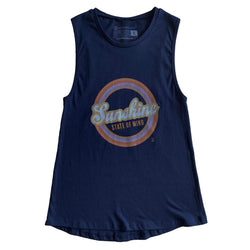 Sunshine State of Mind Tru Fit Muscle Tank - Navy