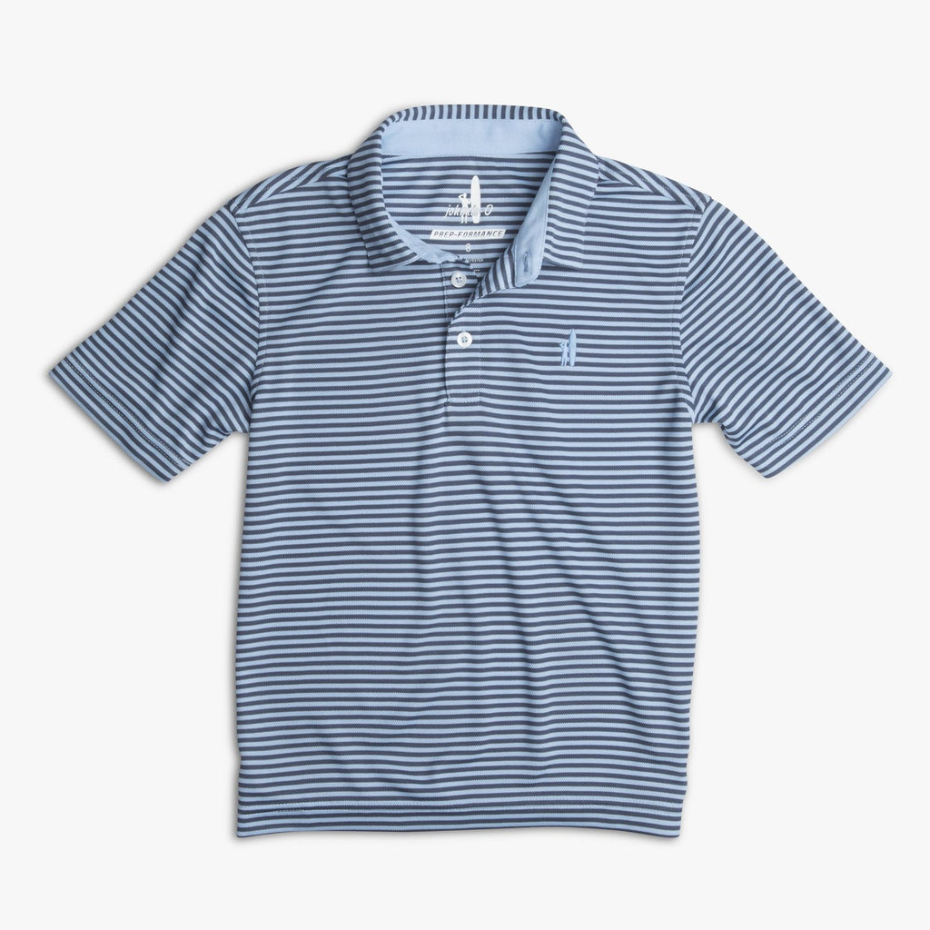 FRINGE PREP-FORMANCE DUAL-STRIPED JR. POLO- Gulf Blue/Midnight