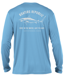 First in the Water L/S - Performance Columbia Blue
