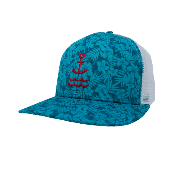 Island Time Anchor Trucker - Hot Pink/Teal/ White