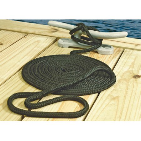 Black Double Braided Dock Line 3/8''x 6'