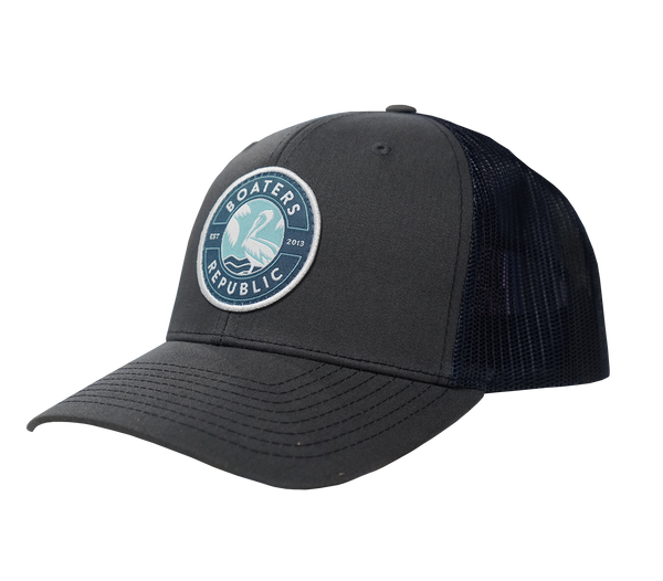 St. Pete Pelican Stamp Hat - Split Charcoal/Navy OSFM