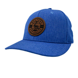 Leather Pelican Patch Flatbill Snapback - Heather Royal