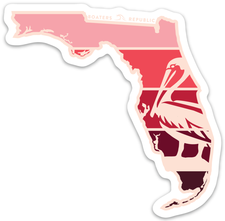 Florida Pelican Decal - Red