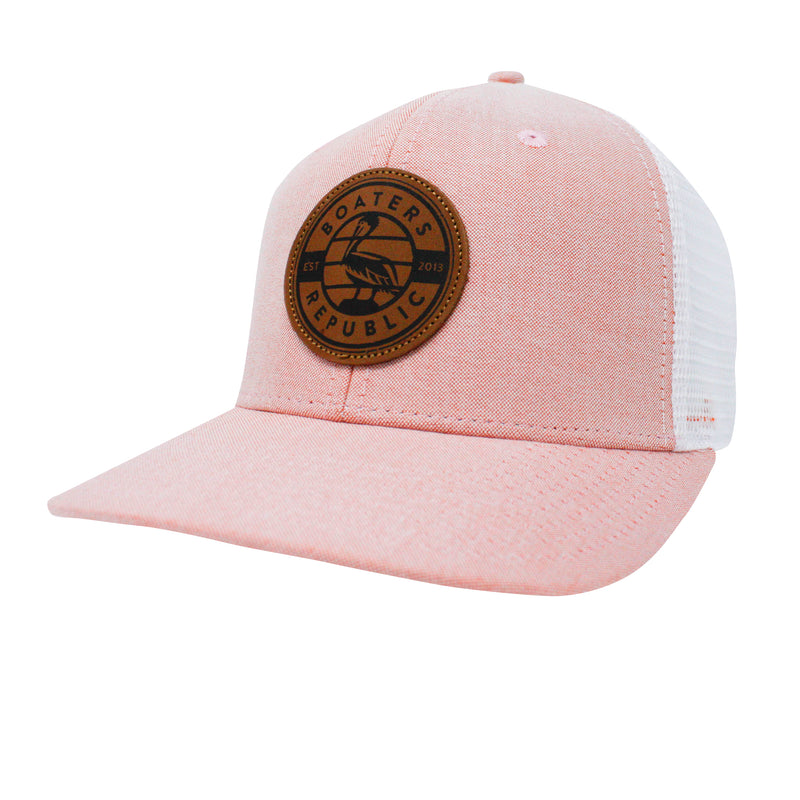 Leather Pelican Patch Trucker - Sunset/ White