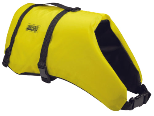 "Provides buoyancy and comfort for man's best friend.   Flotation Material: Polyethelene foam      Shell: 150 Denier polyester fabric     Closure: 1"" Nylon. (2) belts"