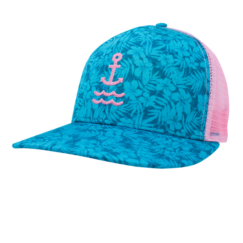Island Time Anchor Trucker - Teal/Pink