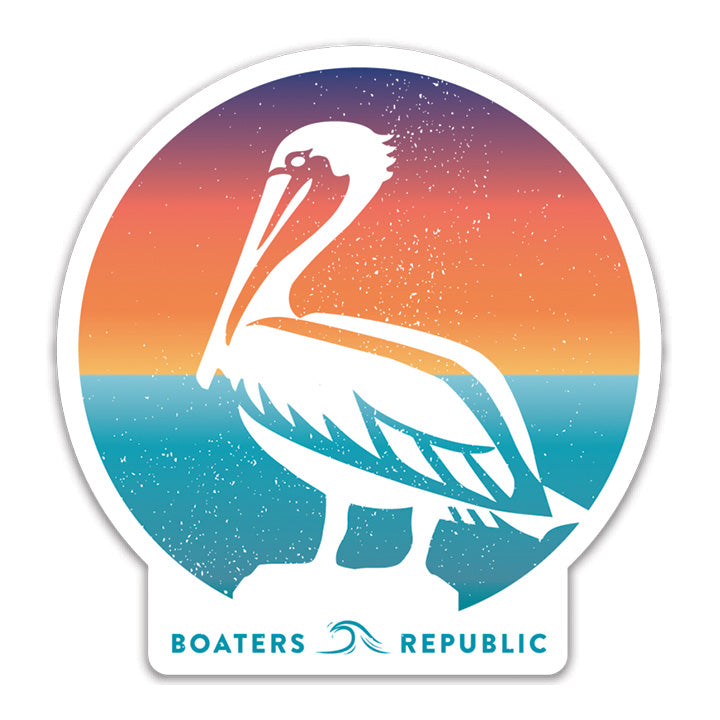 Sunset Pelican Decal