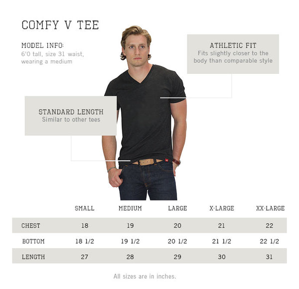 Comfy V Neck T-Shirt Sizing Chart