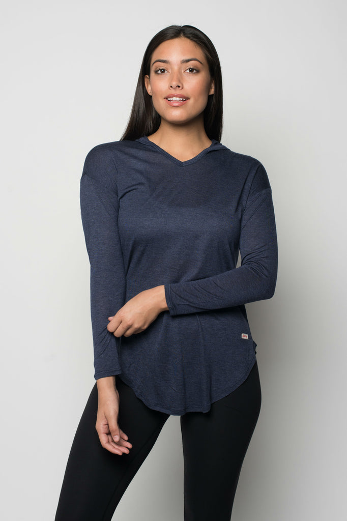 Sportiqe Women's Sofia Hooded Shirt Navy