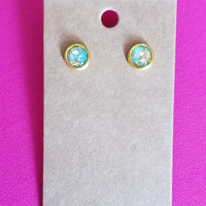 Small Gold Speckled Stud Earrings