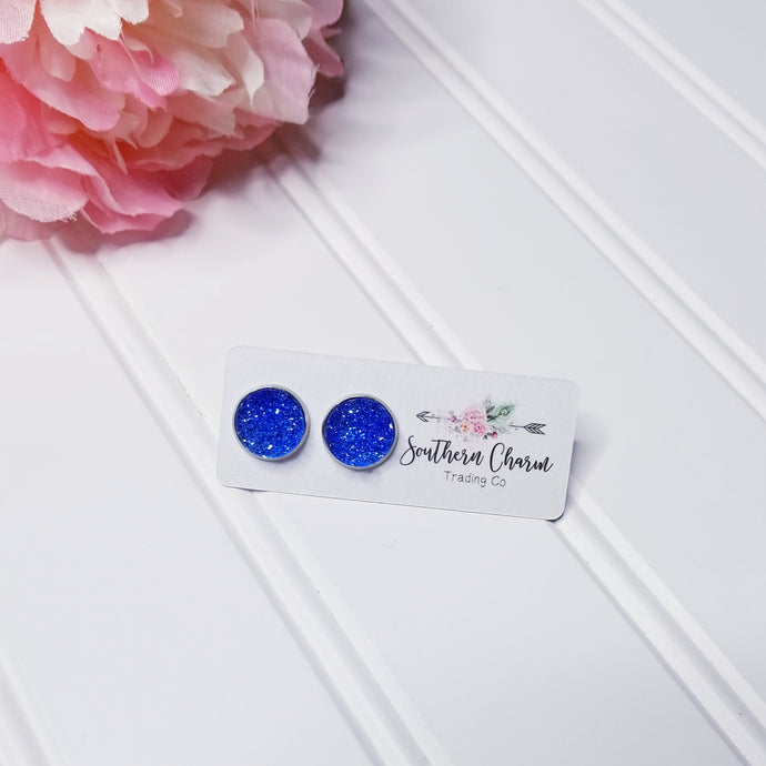 Blue Druzy Stud Earrings