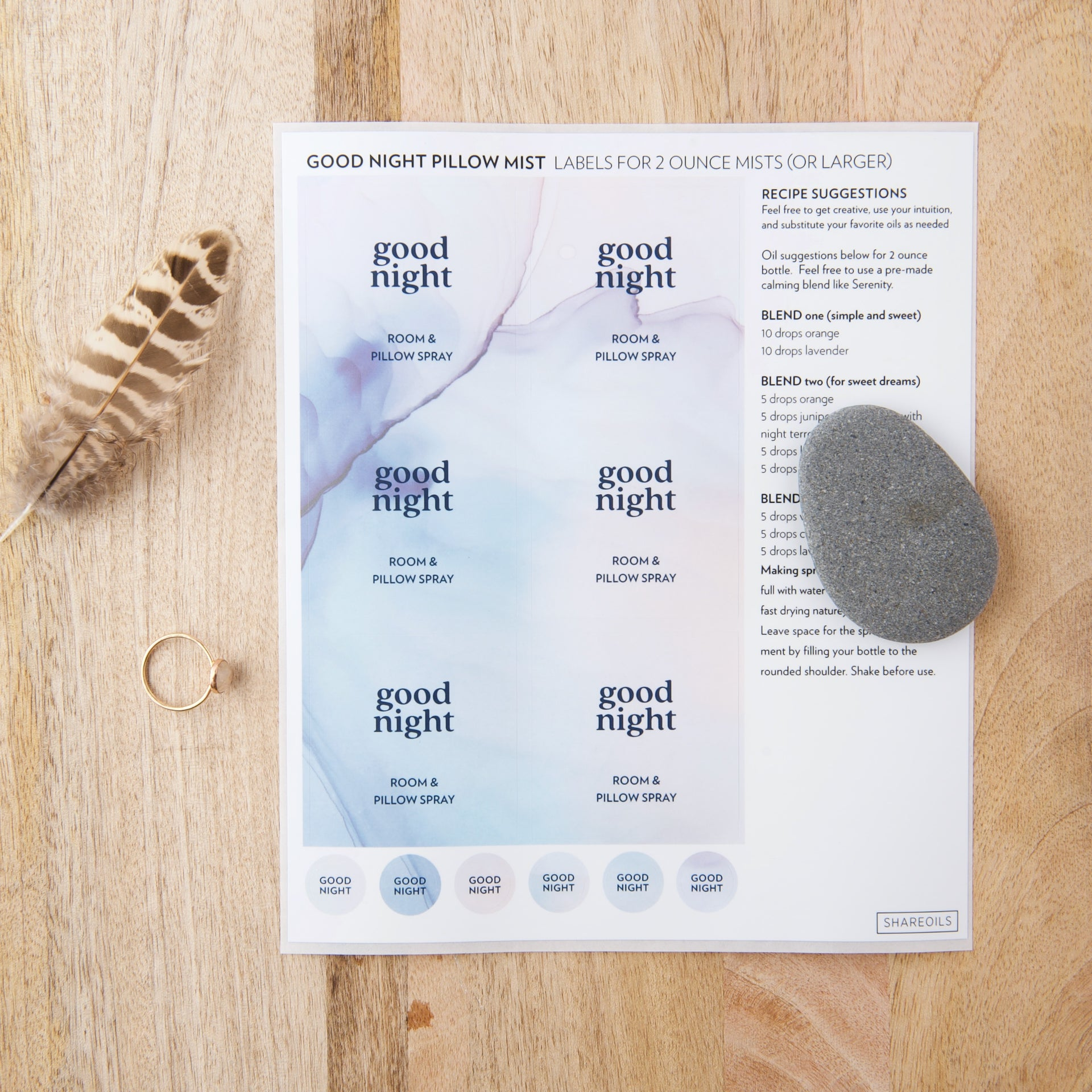 Good Night Pillow Mist Label + Recipes – Sheet of 6 Labels