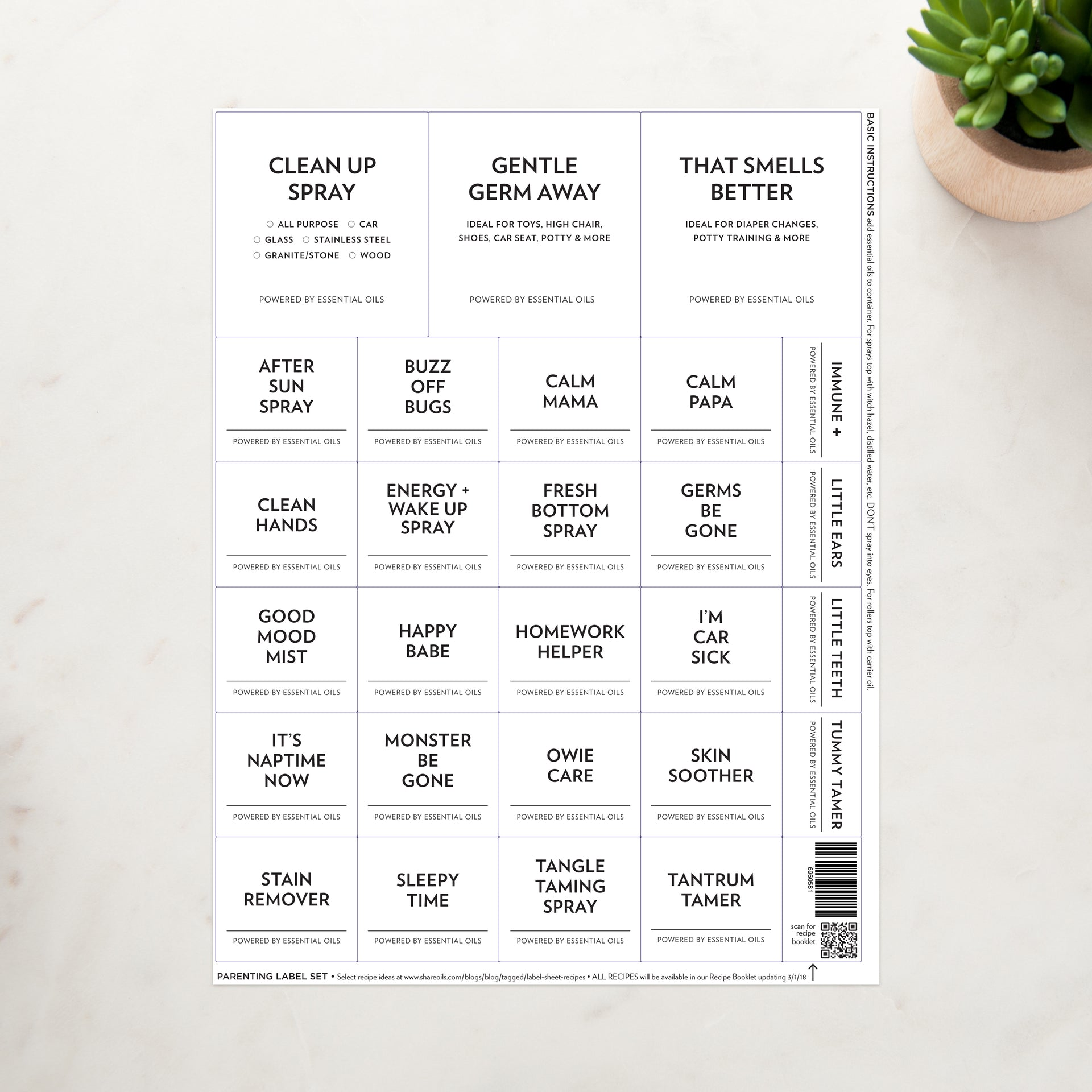 Minimalist Label Sheets – See options