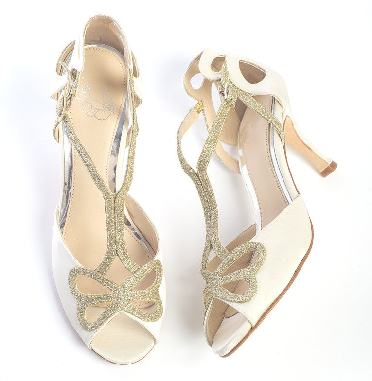 Bella cream butterfly wedding shoe