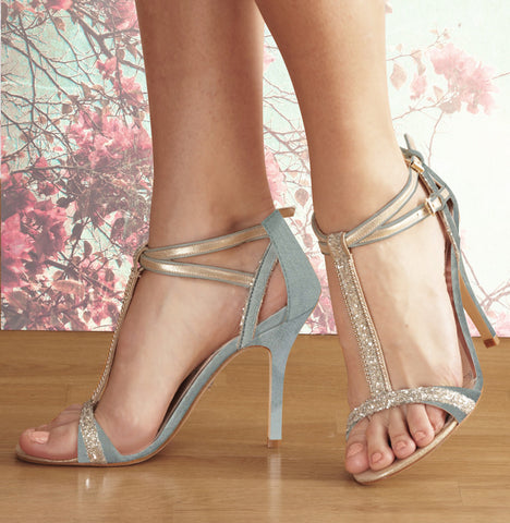 Carmen pale blue suede & glitter t-bar wedding sandal