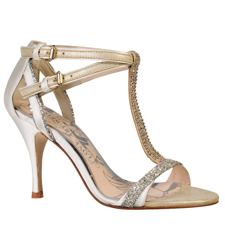 Carmen cream glitter t-bar wedding sandal
