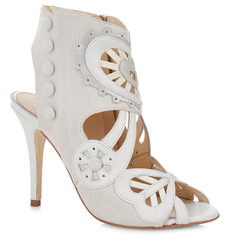 Kharo white suede & leather bridal ankle booties *MADE TO ORDER*