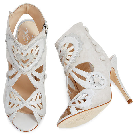 Kharo white suede & leather bridal ankle booties