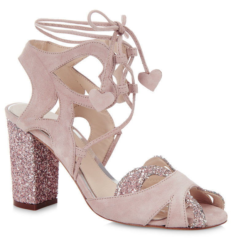 c42f11505e49 Lyra dusty pink suede and glitter ghillie lace up sandal  MADE TO ORDER