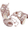 Lyra dusty pink suede and glitter lace up sandal