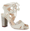 Lyra white suede and pewter glitter ghillie lace up sandal *MADE TO ORDER*