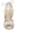 Lyra white suede and pewter glitter lace up sandal