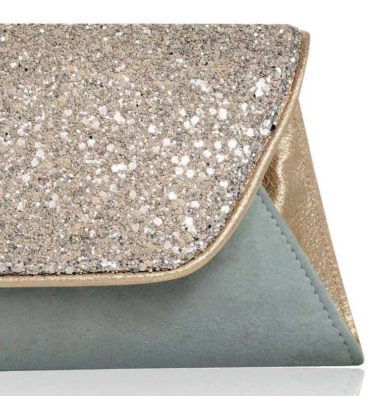 Lucille pale blue suede and glitter envelope clutch bag