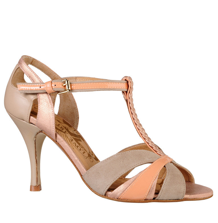 Scarlett nude & rose gold t-bar dance shoes