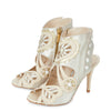 Kharo ivory satin & leather bridal ankle booties