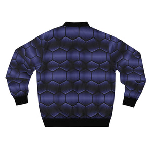 Deep Blue Hex Bomber Jacket