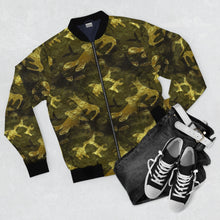 Load image into Gallery viewer, Camo Gold Bomber Jacket