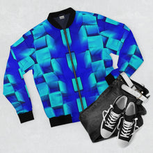 Load image into Gallery viewer, Blue Box Bomber Jacket