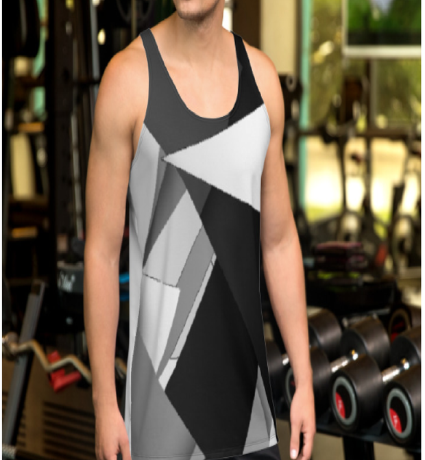 Tanktop with black, grey and white triangles irregular shapes