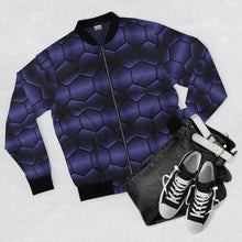 Load image into Gallery viewer, Deep Blue Hex Bomber Jacket