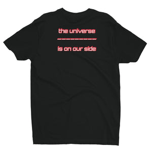 Black t-shirt with text the univers in on our side on the back image of person looking at the universe on the front