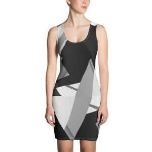 Sublimation Cut & Sew Dress with black, grey and white irregular triangles - Sciarosu