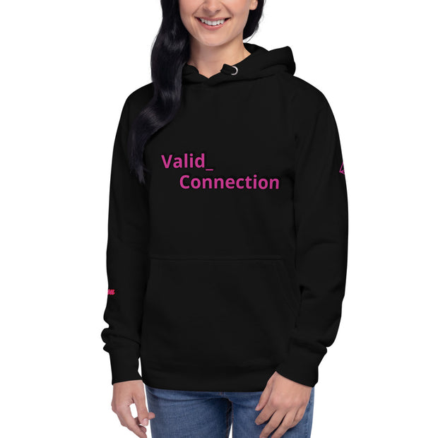Hoodie valid connection view through mountain bridge background