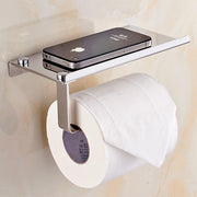 Toilet paper holder with space for your mobile Netflixing time on the loo