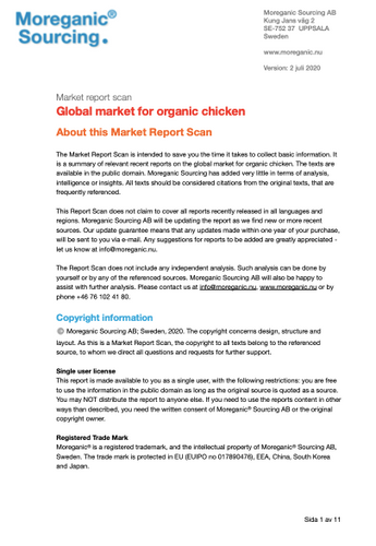 Global market for organic chicken - Moreganic Sourcing AB - 2020 - Multi user
