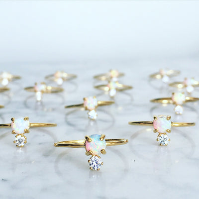 Double Dose Gold Ring (opal and diamond)
