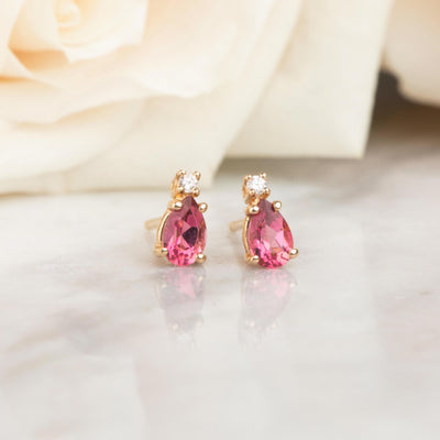 14kt Pink Sapphire and Diamond Pear Drop Studs