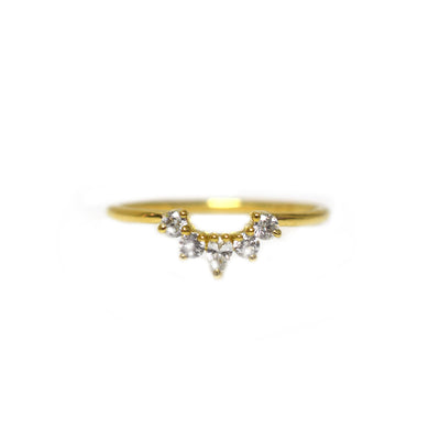 14kt Gold Mini Diamond Arc Ring