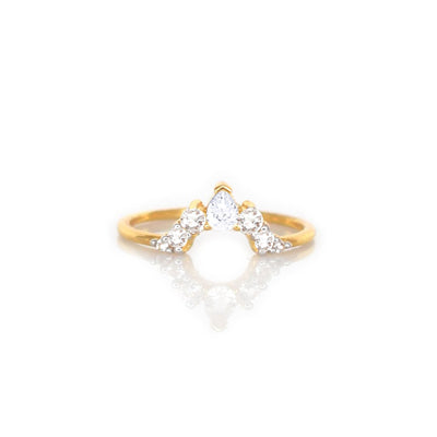 14kt Gold Diamond Angels Arc Ring